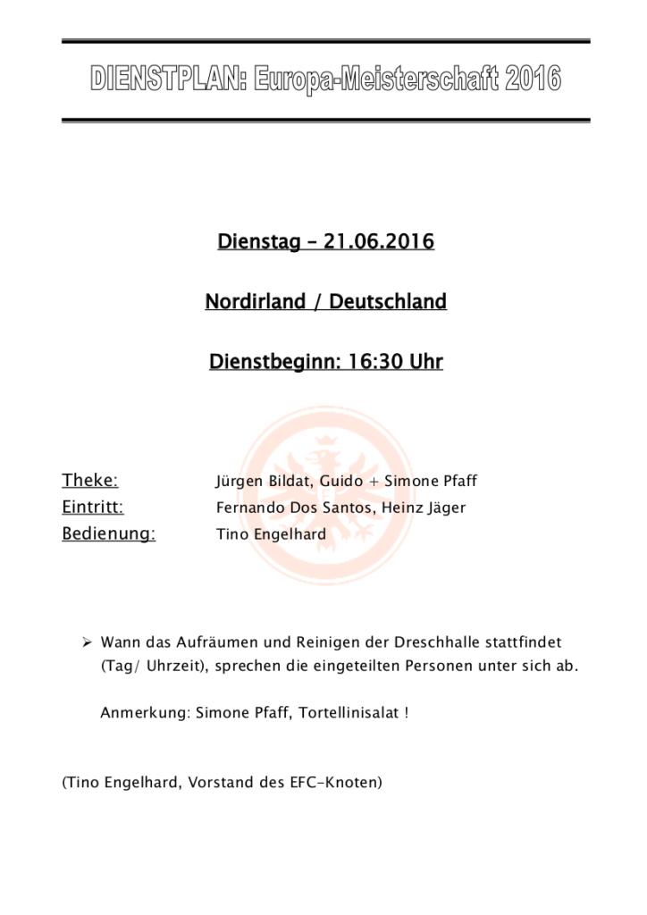 DIENSTPLAN,21.06.16